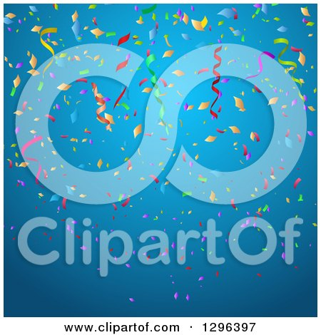 Clipart of a Blue Party Background with Colorful Confetti and Ribbons - Royalty Free Vector Illustration by KJ Pargeter
