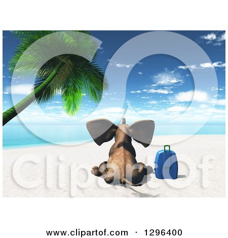 Clipart of a Rear View of a 3d Elephant Sitting with a Suitcase on a Tropical Beach - Royalty Free Illustration by KJ Pargeter