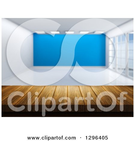 Clipart of a 3d Wood Table or Counter with an Empty Room and a Blue Feature Wall - Royalty Free Illustration by KJ Pargeter