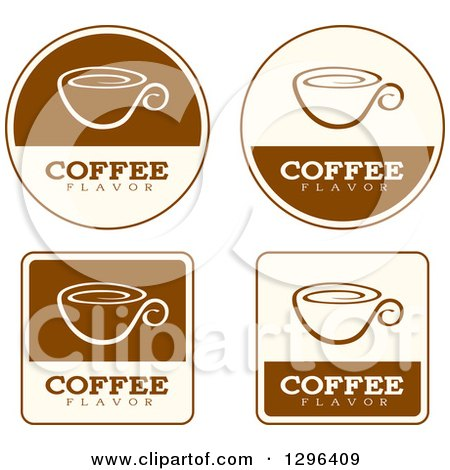 Clipart of a Set of Brown and Beige Coffee Flavor Labels - Royalty Free Vector Illustration by Cory Thoman
