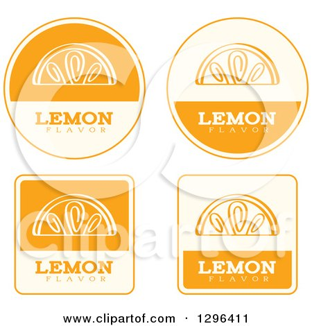 Clipart of a Set of Yellow and Beige Lemon Fruit Flavor Labels - Royalty Free Vector Illustration by Cory Thoman