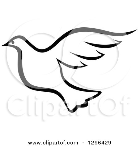 Royalty-Free (RF) Black And White Dove Clipart, Illustrations ...