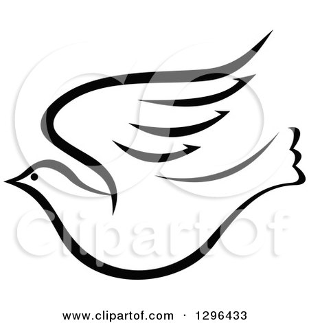 Clipart of a Black and White Flying Dove 8 - Royalty Free Vector Illustration by Vector Tradition SM
