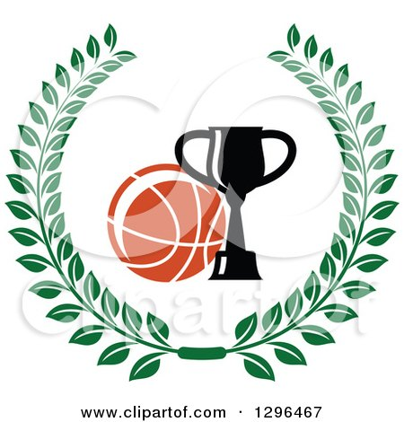 Clipart of a Basketball and Trophy in a Green Wreath - Royalty Free Vector Illustration by Vector Tradition SM