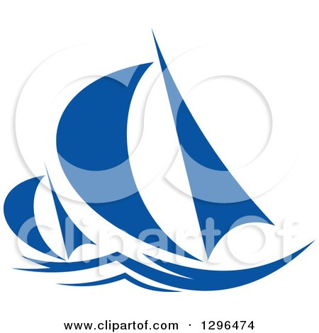 Clipart of a Blue Regatta Sailboats 2 - Royalty Free Vector Illustration by Vector Tradition SM