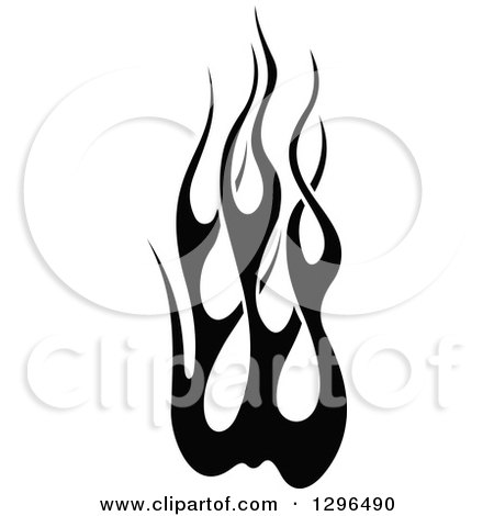 Clipart of a black and white tibal fire tattoo design for Black and white flame tattoo