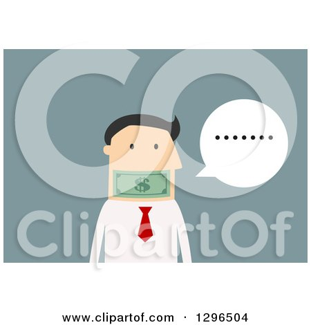 Clipart of a Flat Modern White Businessman , over Blue - Royalty Free Vector Illustration by Vector Tradition SM