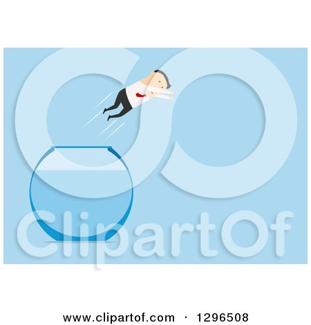 Clipart of a Flat Modern White Businessman Leaping Free of a Fish Bowl, over Blue - Royalty Free Vector Illustration by Vector Tradition SM