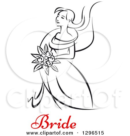 Clipart of a Sketched Black and White Bride Holding a Bouquet of Flowers with Red Text 6 - Royalty Free Vector Illustration by Vector Tradition SM