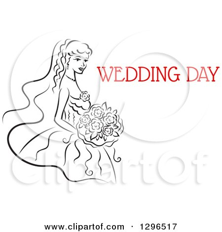 Clipart of a Sketched Black and White Bride Holding a Bouquet of Flowers with Red Text 7 - Royalty Free Vector Illustration by Vector Tradition SM