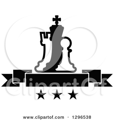 Clipart of a Black and White Chess Piece Pawn, King and Rook with a Blank Banner over Stars - Royalty Free Vector Illustration by Vector Tradition SM