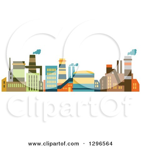 Clipart of Colorful Factory Buildings - Royalty Free Vector Illustration by Vector Tradition SM