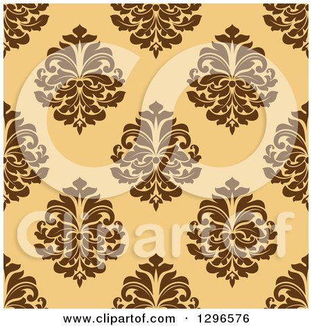 Clipart of a Seamless Pattern Background of Brown Damask on Orange - Royalty Free Vector Illustration by Vector Tradition SM