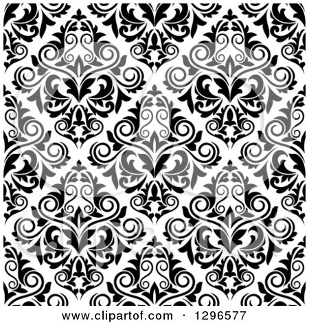 Clipart of a Seamless Pattern Background of Damask in Black on White 2 - Royalty Free Vector Illustration by Vector Tradition SM