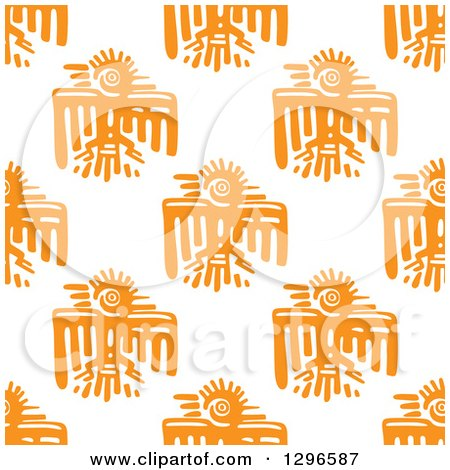 Clipart of a Seamless Background Pattern of Orange Mayan Tribal Eagles - Royalty Free Vector Illustration by Vector Tradition SM