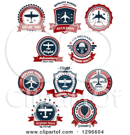 Clipart of a Red White and Blue Airplane Tour Designs 3 - Royalty Free Vector Illustration by Vector Tradition SM