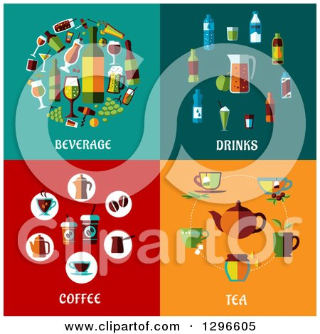 Flat Beverage Drinks Coffee and Tea Designs Posters, Art Prints by ...
