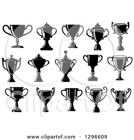 Clipart of Black Silhouetted Trophy Cups or Urns - Royalty Free Vector Illustration by Vector Tradition SM