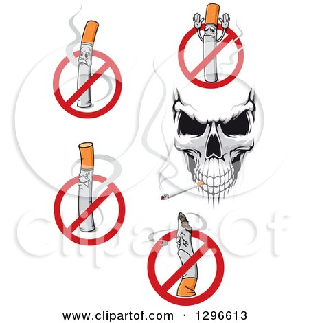 Clipart of a Skull and No Smoking Designs - Royalty Free Vector Illustration by Vector Tradition SM