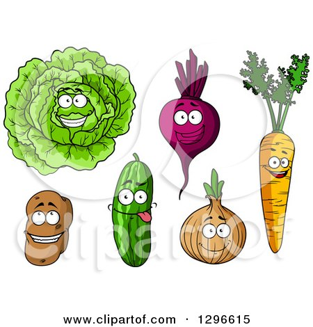 Clipart of Cartoon Happy Veggie Characters - Royalty Free Vector Illustration by Vector Tradition SM