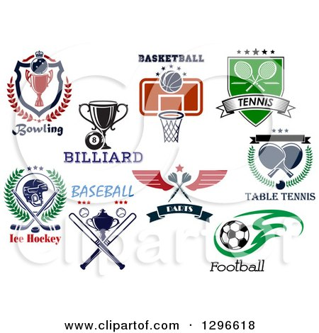 Clipart of Bowling, Billiards, Basketball, Tennis, Ping Pong, Darts, Soccer, Baseball and Ice Hockey Sports Designs with Text - Royalty Free Vector Illustration by Vector Tradition SM