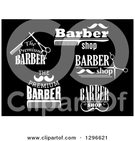 Clipart of Black and White Barber Shop Designs 4 - Royalty Free ...