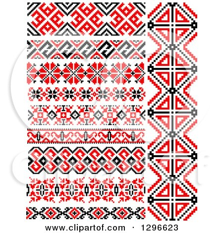 Clipart of a Red Black and White Native American Border Designs 4 - Royalty Free Vector Illustration by Vector Tradition SM