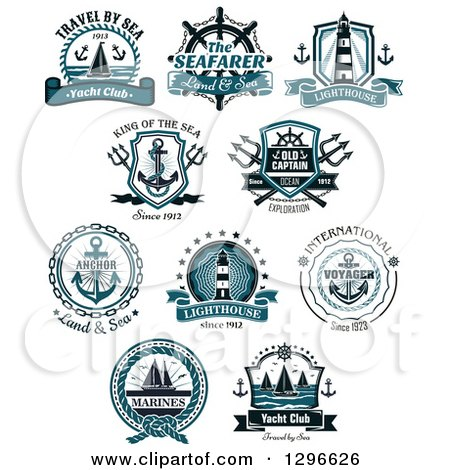 Clipart of Anchor, Lighthouse and Sailboat Nautical Designs with Text - Royalty Free Vector Illustration by Vector Tradition SM