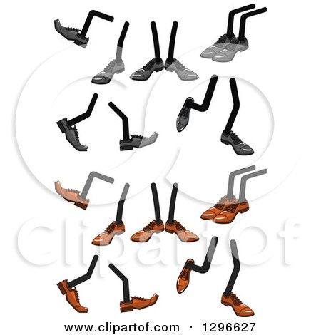 Clipart of Pairs of Legs Wearing Brown or Gray Shoes - Royalty Free Vector Illustration by Vector Tradition SM