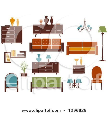 Clipart of Retro or Modern Furniture 2 - Royalty Free Vector Illustration by Vector Tradition SM