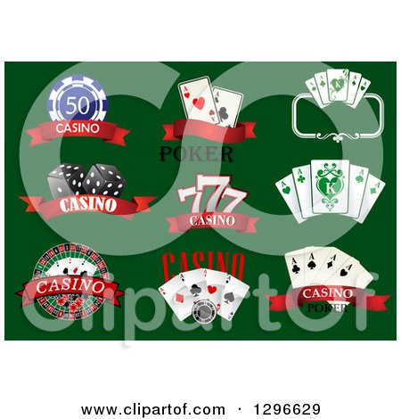 Clipart of Casino Designs with Text on Green - Royalty Free Vector Illustration by Vector Tradition SM