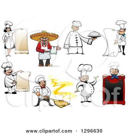 Clipart of Cartoon Happy Chefs - Royalty Free Vector Illustration by Vector Tradition SM