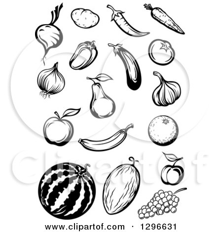 Clipart of Black and White Sketched Fruits and Veggies - Royalty Free Vector Illustration by Vector Tradition SM