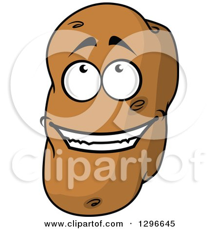 Clipart of a Cartoon Russet Potato Character Looking up - Royalty Free Vector Illustration by Vector Tradition SM