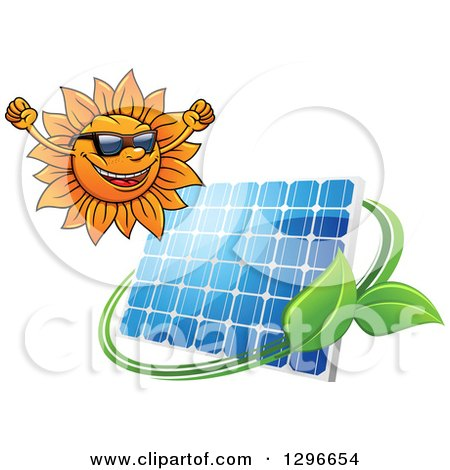Clipart of a Happy Cheering Sun and Solar Panel Encircled with a Swoosh and Green Leaves - Royalty Free Vector Illustration by Vector Tradition SM