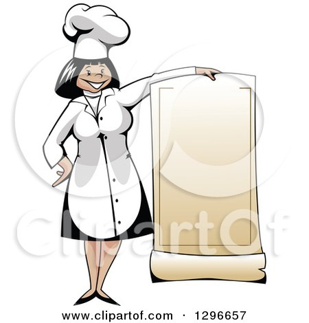 Clipart of a Cartoon Happy Female Chef Holding a Blank Menu - Royalty Free Vector Illustration by Vector Tradition SM
