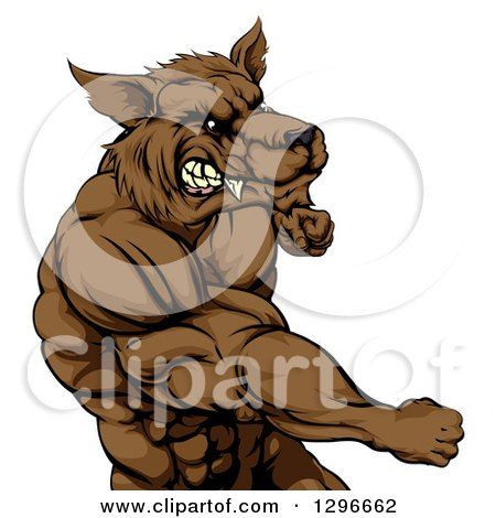 Clipart of a Tough Vicious Muscular Brown Wolf Man Punching - Royalty Free Vector Illustration by AtStockIllustration