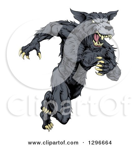 Clipart of a Vicious Black Muscular Wolf Man Sprinting - Royalty Free Vector Illustration by AtStockIllustration