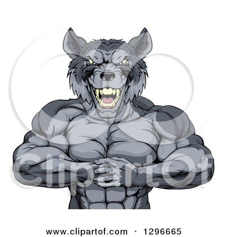 Clipart of a Tough Vicious Muscular Wolf Man Punching His Fist into Palm - Royalty Free Vector Illustration by AtStockIllustration