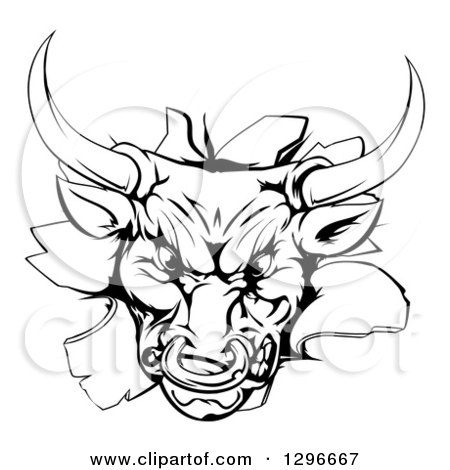 Clipart of a Vicious Snarling Aggressive Black and White Bull Breaking Through a Wall - Royalty Free Vector Illustration by AtStockIllustration