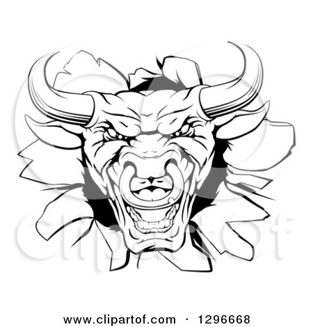 Clipart of a Snarling Aggressive Black and White Bull Breaking Through a Wall - Royalty Free Vector Illustration by AtStockIllustration