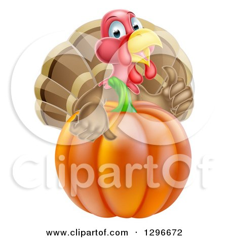 Clipart of a Cute Turkey Bird Giving a Thumb up over a Pumpkin - Royalty Free Vector Illustration by AtStockIllustration