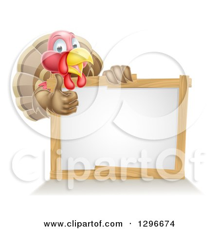 Clipart of a Cute Turkey Bird Giving a Thumb up Around a Sign - Royalty Free Vector Illustration by AtStockIllustration