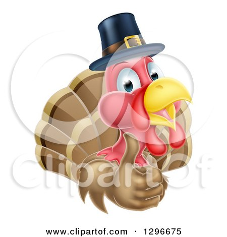 Clipart of a Cute Thanksgiving Turkey Bird Wearing a Pilgrim Hat and Giving a Thumb up - Royalty Free Vector Illustration by AtStockIllustration
