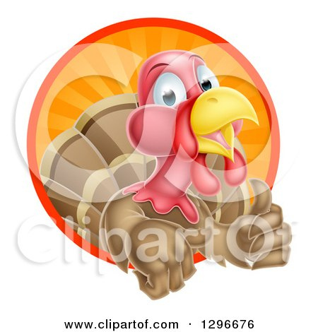Clipart of a Cute Turkey Bird Giving a Thumb up and Emerging from a Circle of Sun Rays - Royalty Free Vector Illustration by AtStockIllustration