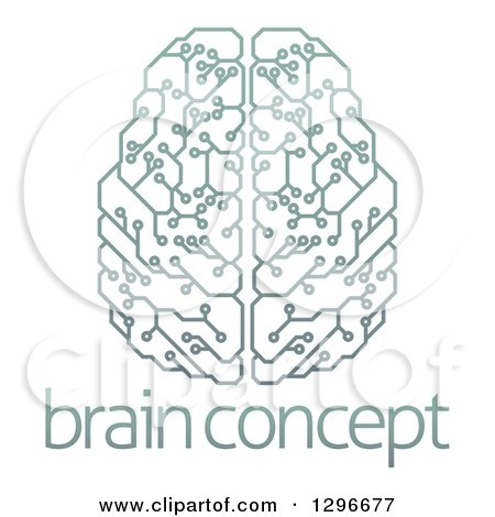 Clipart of a Gradient Green Artificial Intelligence Circuit Board Brain over Sample Text - Royalty Free Vector Illustration by AtStockIllustration