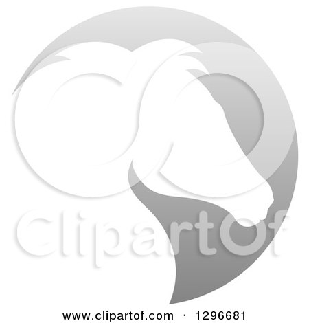 Clipart of a Gradient White Horse Head Silhouetted in a Gray Circle - Royalty Free Vector Illustration by AtStockIllustration