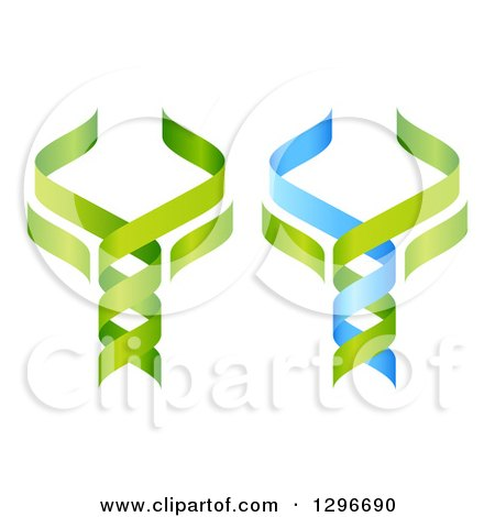 Clipart of 3d Green and Blue DNA Double Helix Trees Shaped like Caduceuses - Royalty Free Vector Illustration by AtStockIllustration