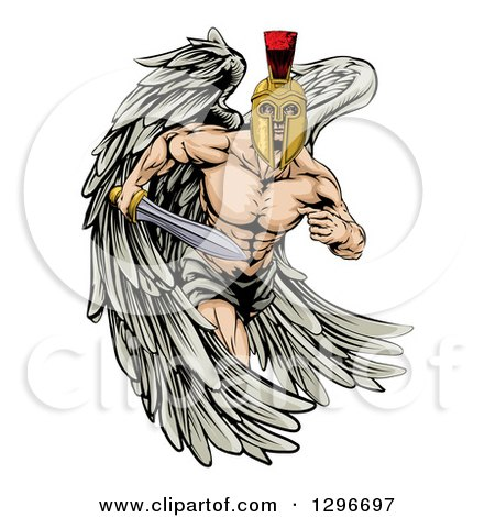 Clipart of a Spartan Trojan Warrior Angel Running with a Sword - Royalty Free Vector Illustration by AtStockIllustration