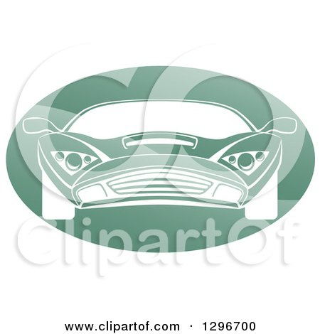 Clipart of a White Sports Car in a Shiny Green Oval - Royalty Free Vector Illustration by AtStockIllustration